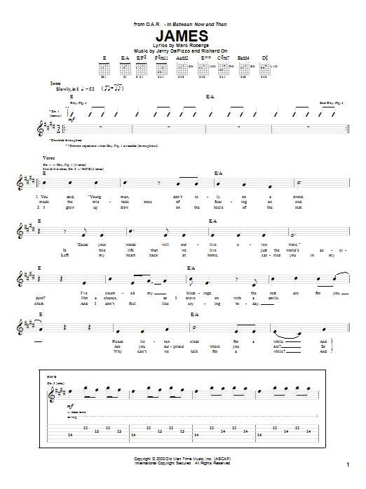 Tablature guitare James de O.A.R. - Tablature Guitare