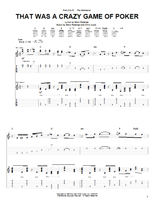 Tablature guitare That Was A Crazy Game Of Poker de O.A.R. - Tablature Guitare