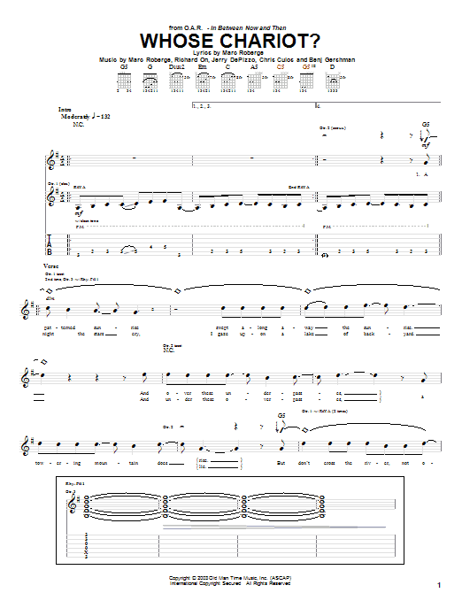 Whose Chariot? sheet music for guitar solo (tablature) by Richard On
