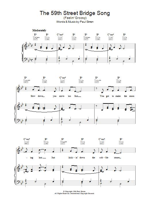 The 59th Street Bridge Song (Feelin' Groovy) sheet music for voice, piano or guitar by Simon & Garfunkel