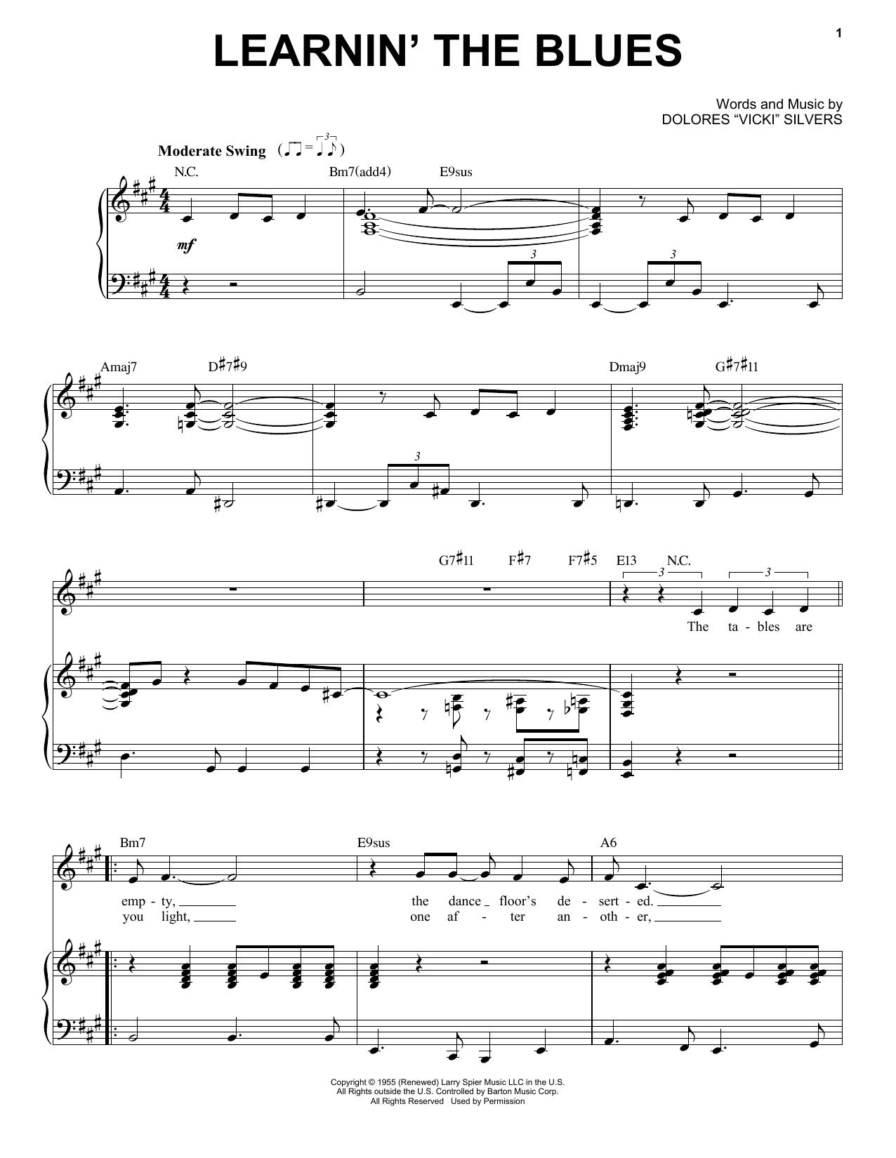 Partition piano Learnin' The Blues de Frank Sinatra - Piano Voix