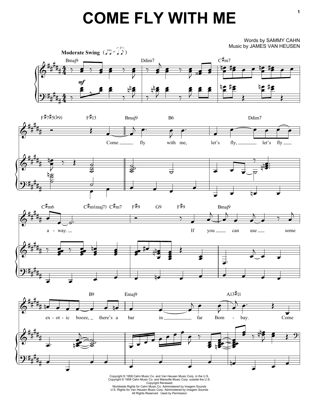 Partition piano Come Fly With Me de Frank Sinatra - Piano Voix