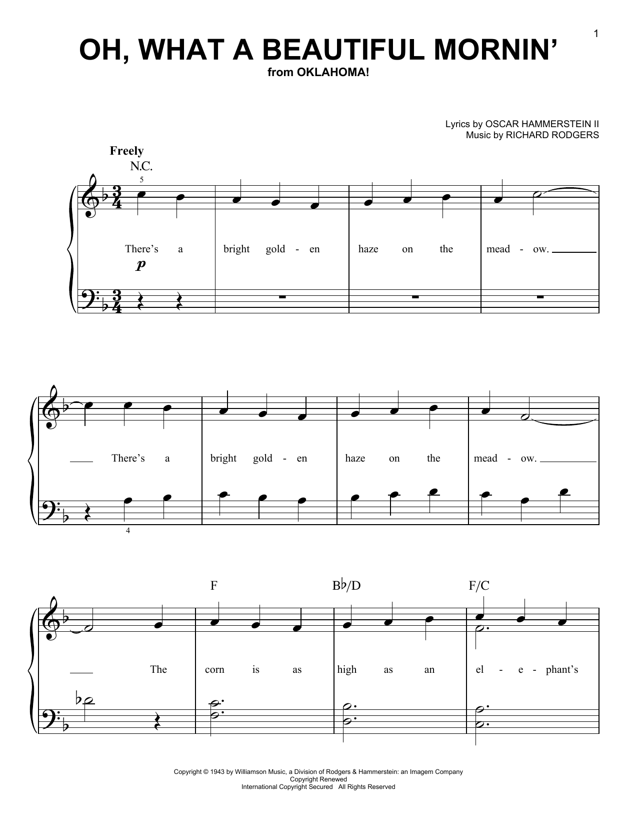 Oh what a beautiful mornin 39 sheet music direct for 1 2 34 get on the dance floor lyrics