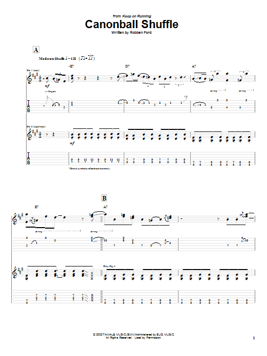 Cannonball Shuffle sheet music for guitar solo (tablature) by Robben Ford