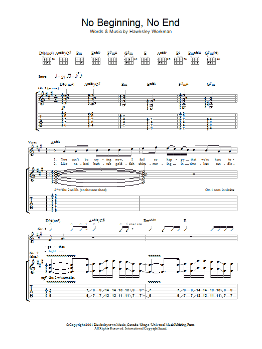 No Beginning No End sheet music for guitar solo (tablature) by Hawksley Workman