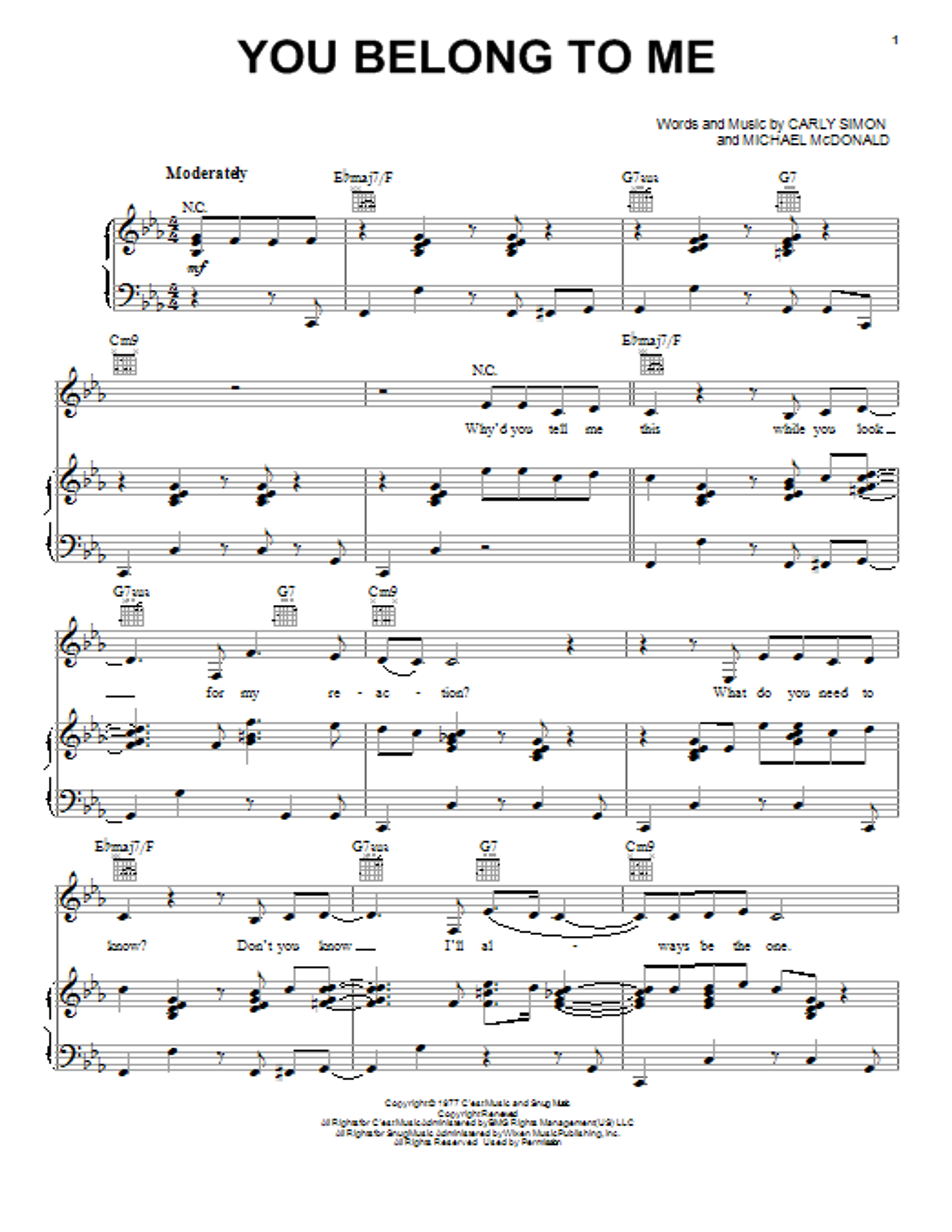 Partition piano You Belong To Me de Michael McDonald - Piano Voix Guitare (Mélodie Main Droite)