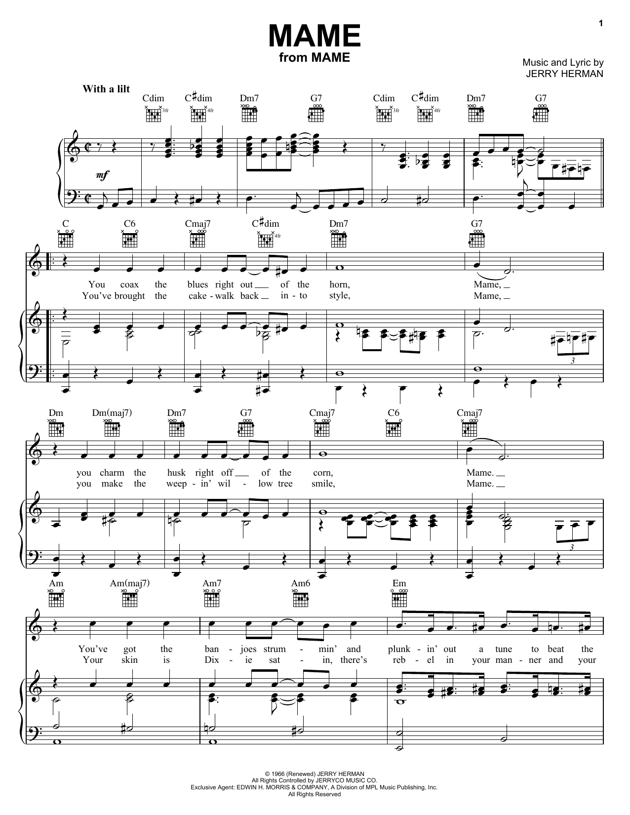 Partition piano Mame de Jerry Herman - Piano Voix Guitare (Mélodie Main Droite)