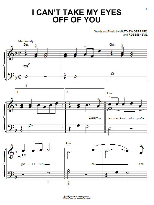 Partition piano I Can't Take My Eyes Off Of You de High School Musical - Piano Facile