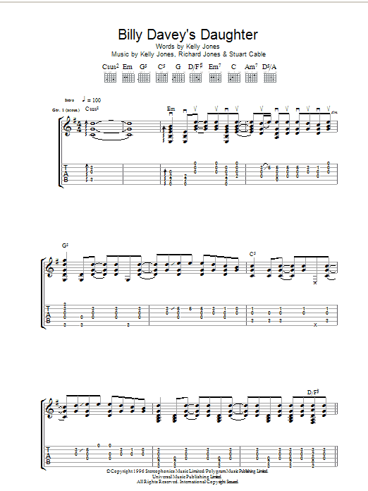 Billy Davey's Daughter sheet music for guitar solo (tablature) by Stuart Cable