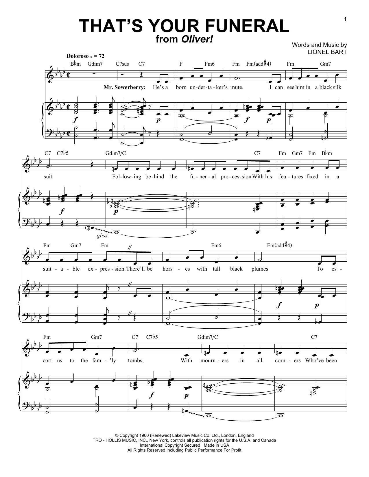 Partition piano That's Your Funeral de Lionel Bart - Piano Voix