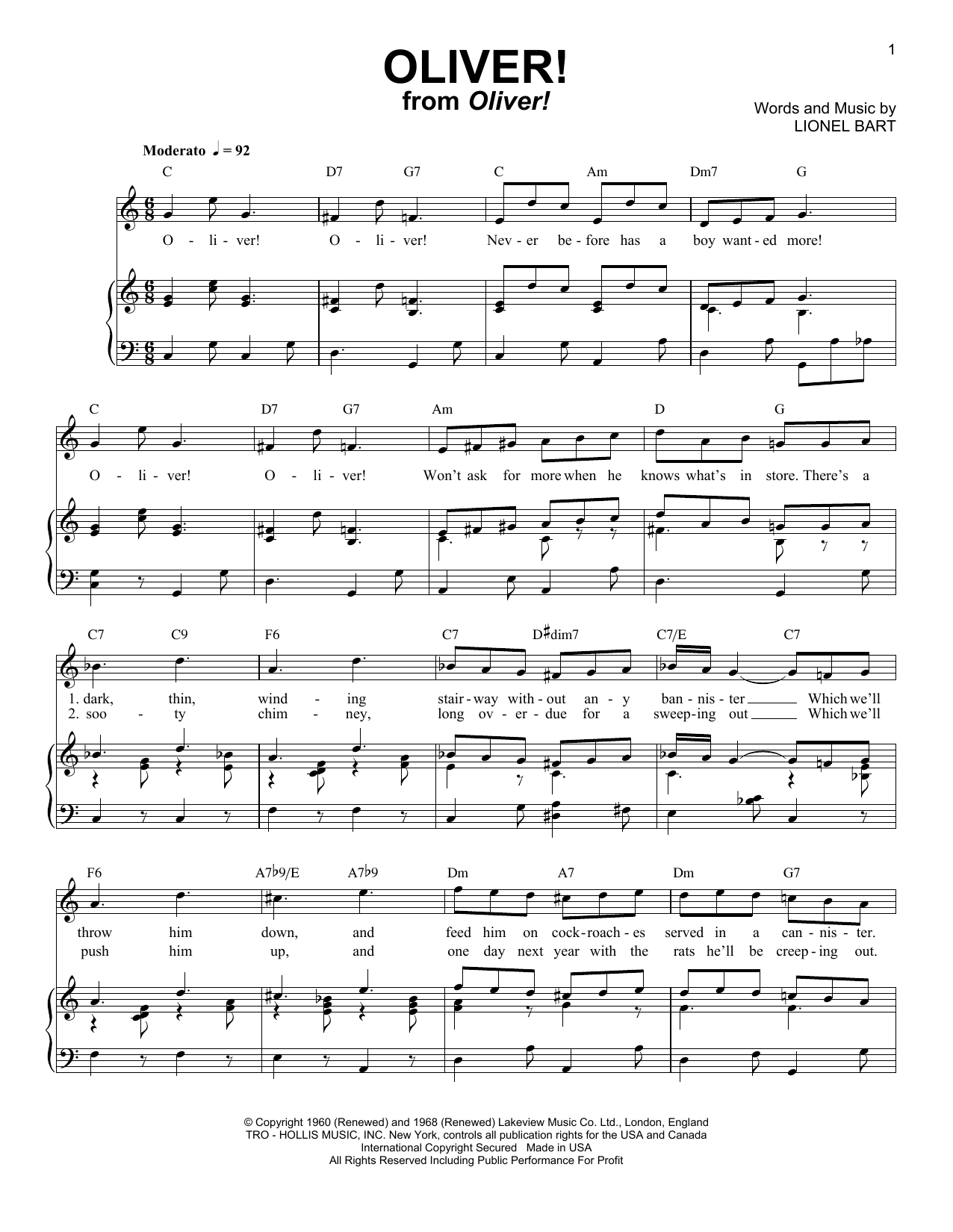 Partition piano Oliver! de Lionel Bart - Piano Voix