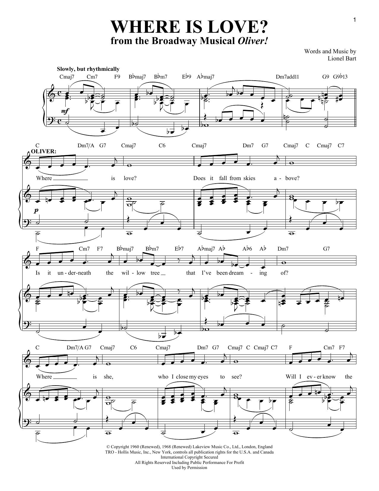 Partition piano Where Is Love? de Lionel Bart - Piano Voix