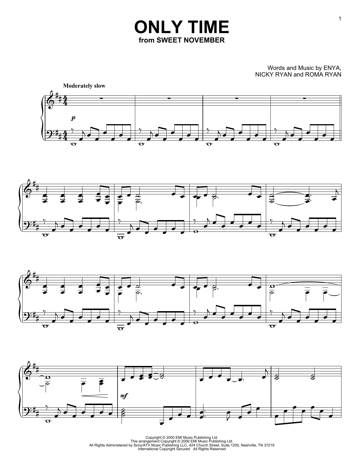 Only Time sheet music for piano solo by Roma Ryan