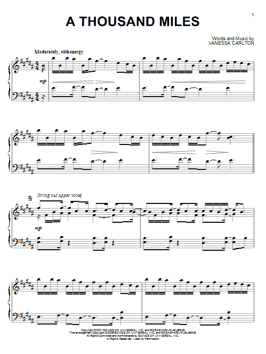 Vanessa Carlton A Thousand Miles Sheet Pdf