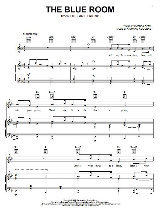 Partition piano The Blue Room de Rodgers & Hart - Piano Voix Guitare (Mélodie Main Droite)