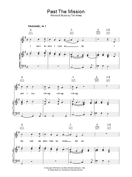 Past The Mission sheet music for voice, piano or guitar by Tori Amos