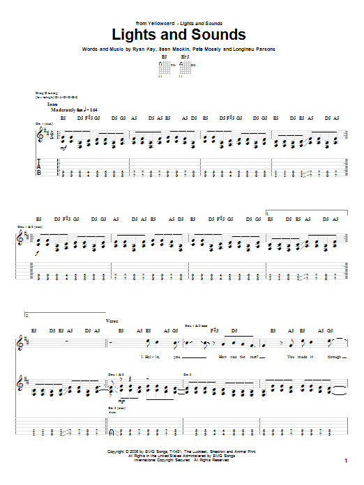 Tablature guitare Lights And Sounds de Yellowcard - Tablature Guitare