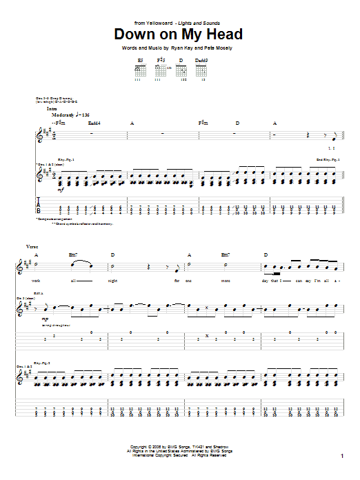 Tablature guitare Down On My Head de Yellowcard - Tablature Guitare