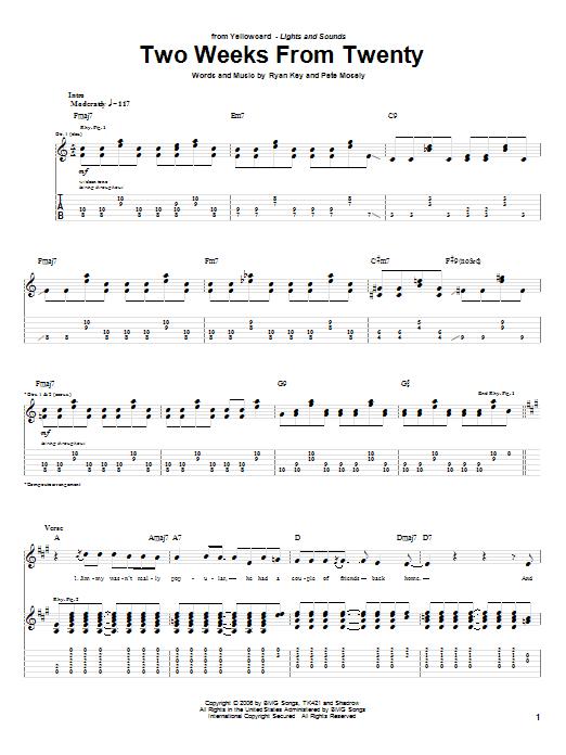 Tablature guitare Two Weeks From Twenty de Yellowcard - Tablature Guitare