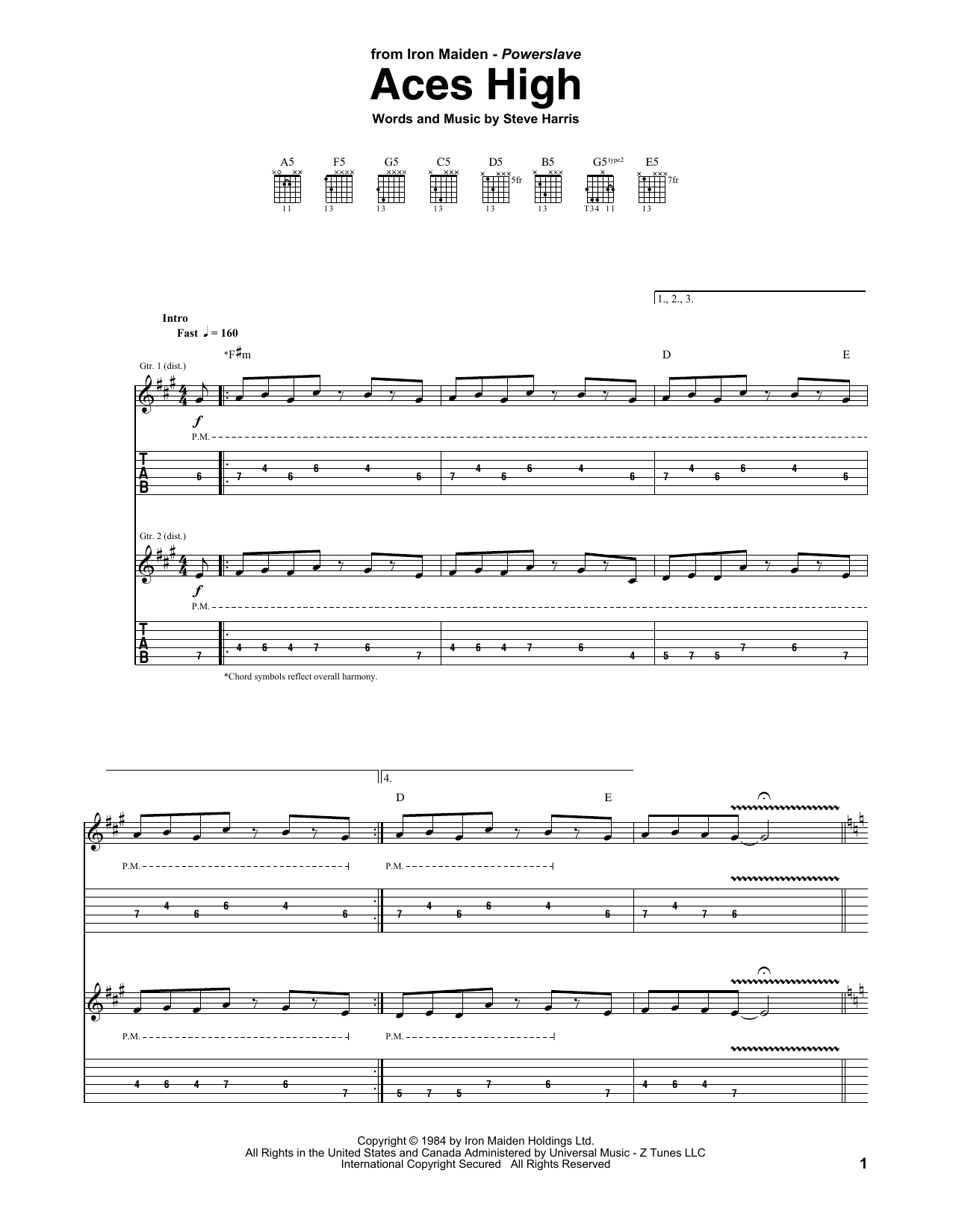 Tablature guitare Aces High de Iron Maiden - Tablature Guitare