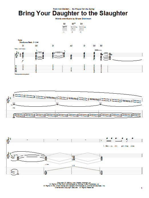 Tablature guitare Bring Your Daughter To The Slaughter de Iron Maiden - Tablature Guitare