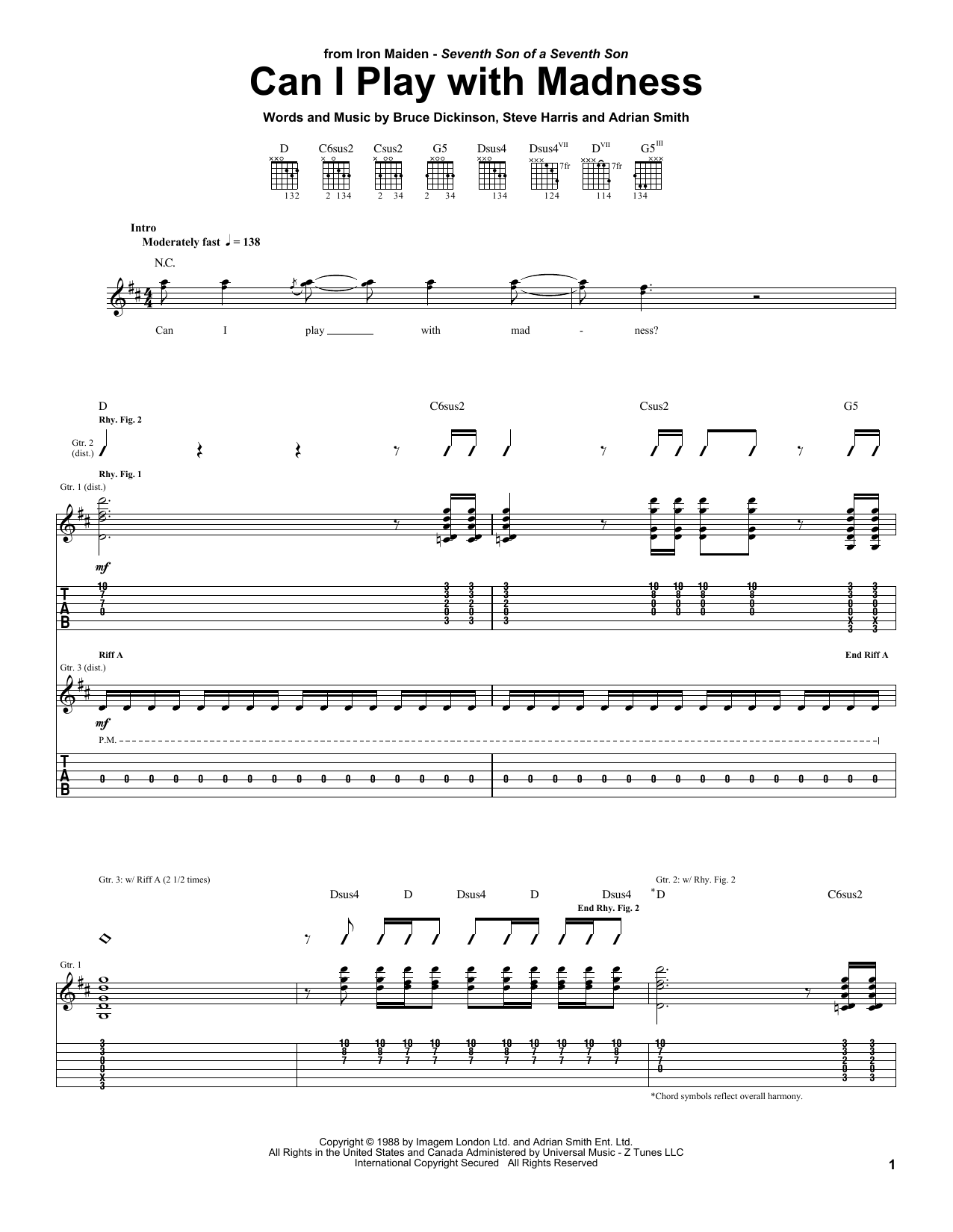 Tablature guitare Can I Play With Madness de Iron Maiden - Tablature Guitare