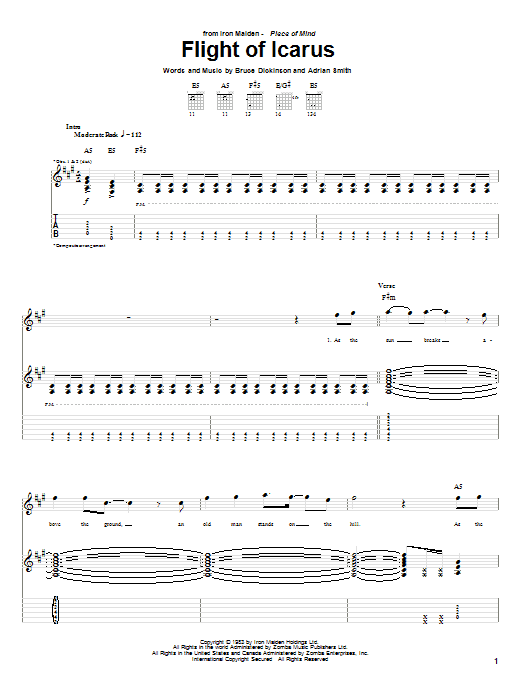 Flight Of Icarus sheet music for guitar solo (tablature) by Bruce Dickinson