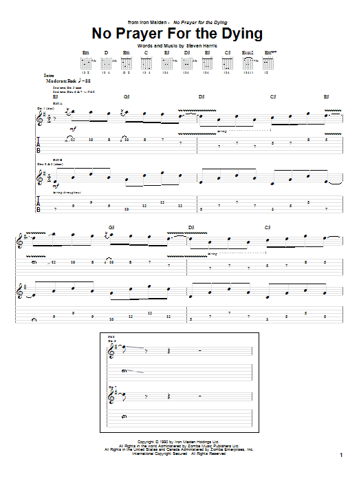 Tablature guitare No Prayer For The Dying de Iron Maiden - Tablature Guitare