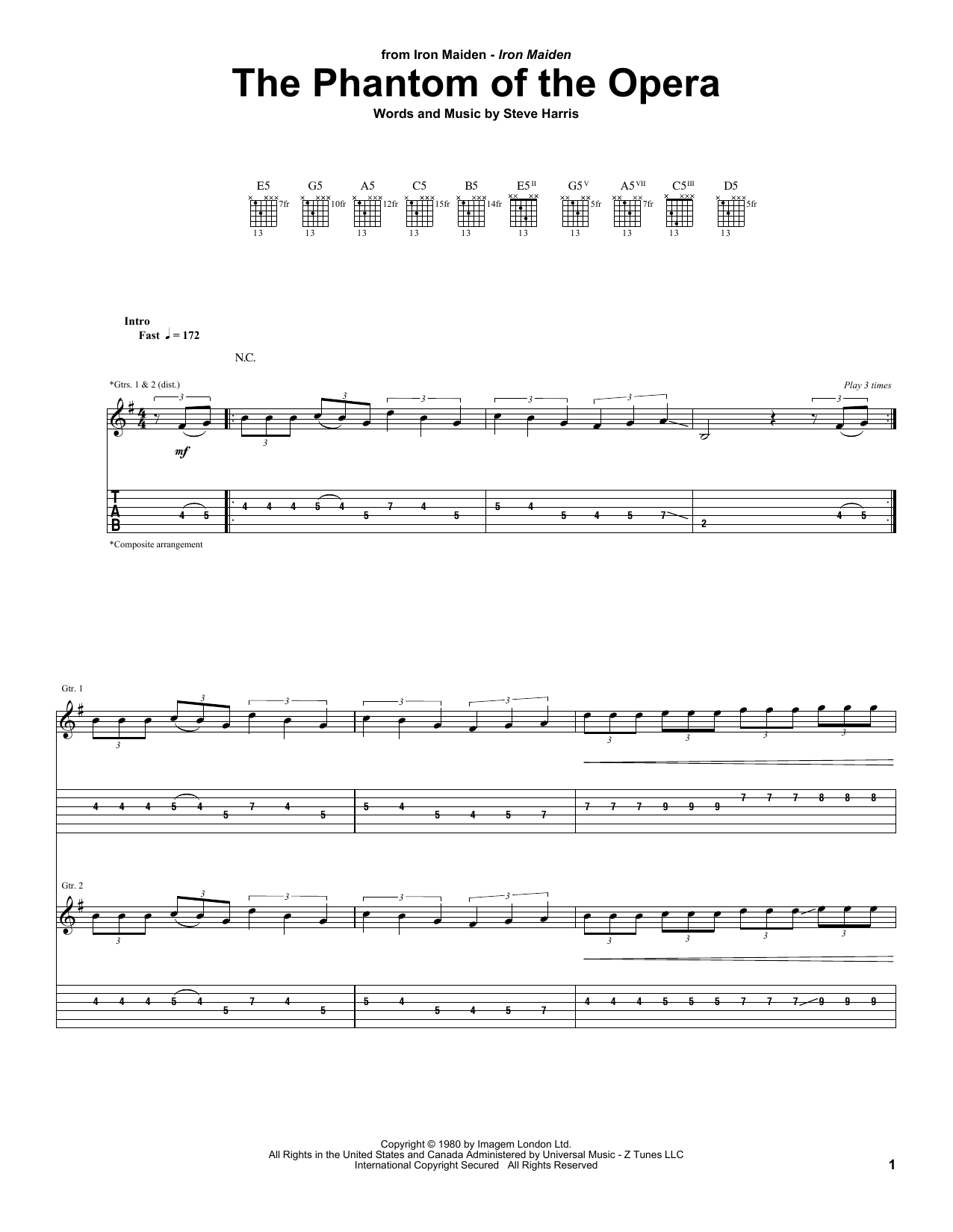 Tablature guitare The Phantom Of The Opera de Iron Maiden - Tablature Guitare