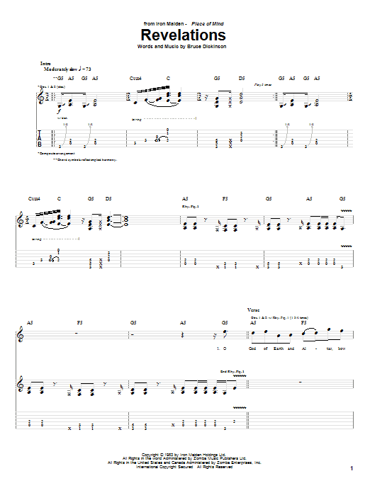 Tablature guitare Revelations de Iron Maiden - Tablature Guitare