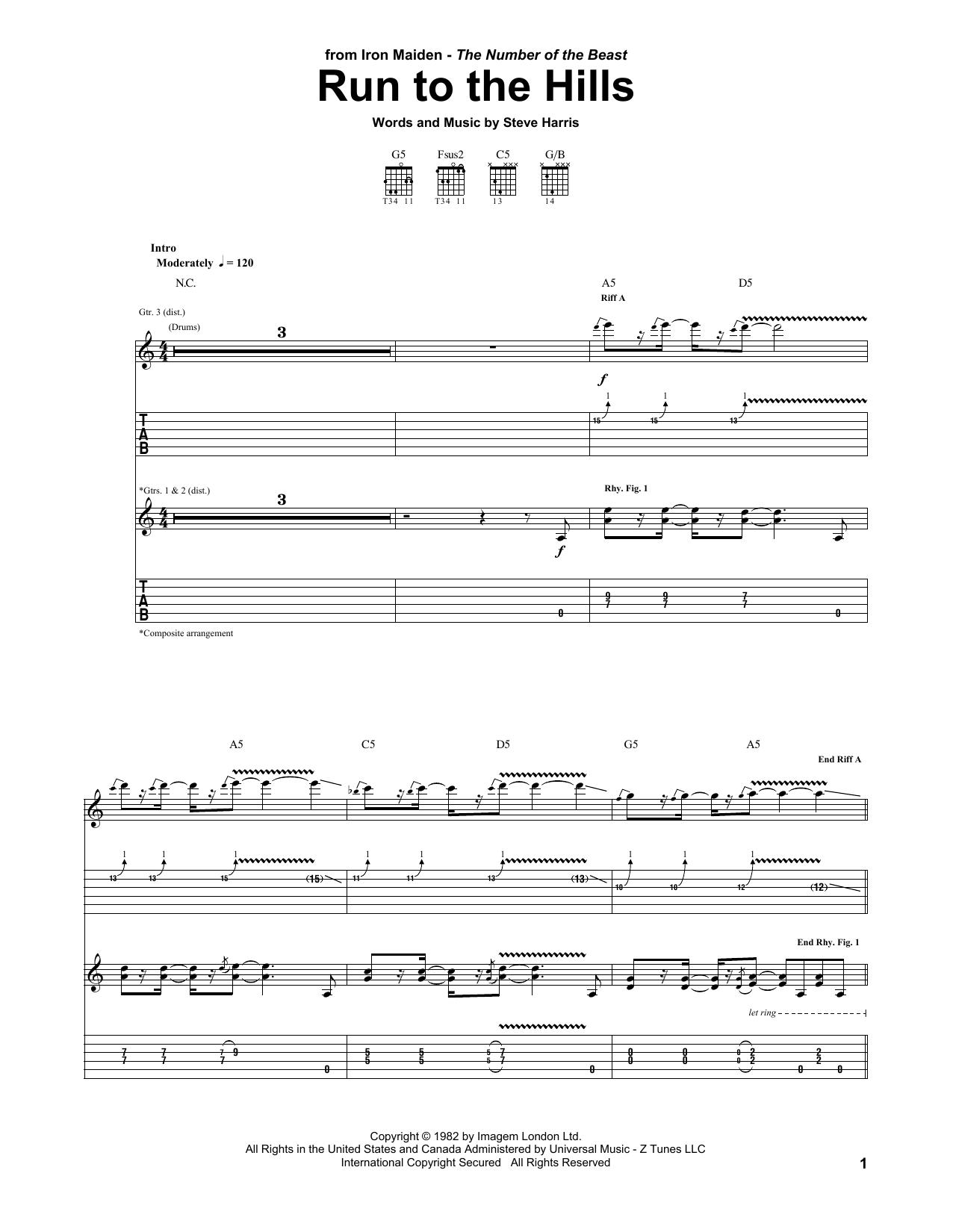 Tablature guitare Run To The Hills de Iron Maiden - Tablature Guitare