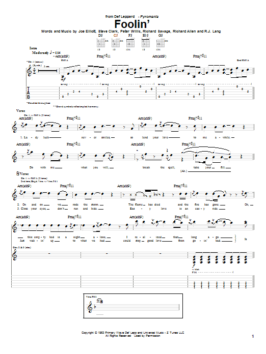 Tablature guitare Foolin' de Def Leppard - Tablature Guitare