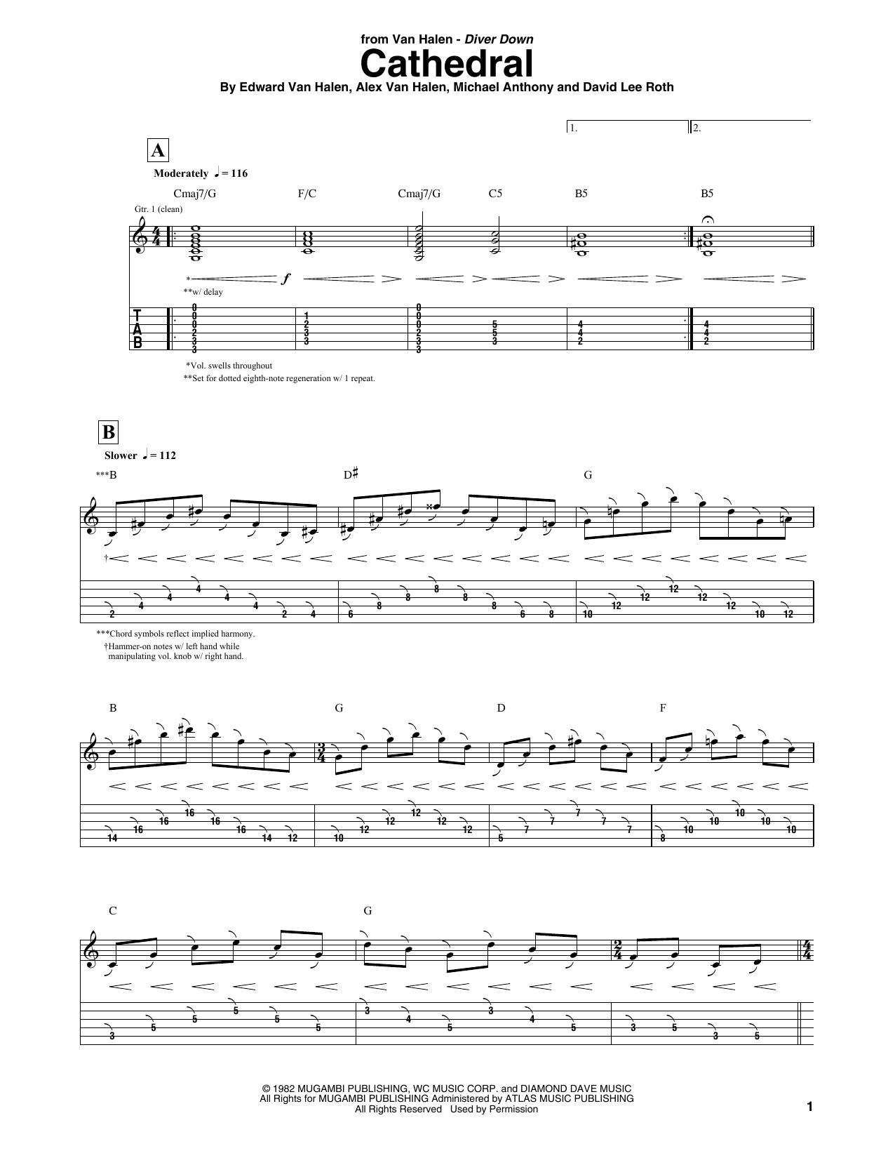 Tablature guitare Cathedral de Van Halen - Tablature Guitare
