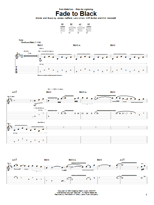 Tablature guitare Fade To Black de Metallica - Tablature Guitare
