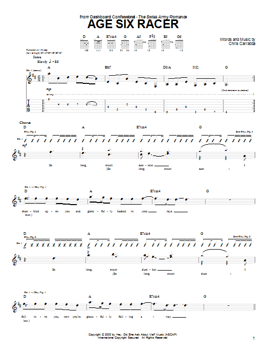 Tablature guitare Age Six Racer de Dashboard Confessional - Tablature Guitare