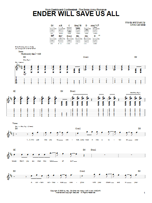 Tablature guitare Ender Will Save Us All de Dashboard Confessional - Tablature Guitare
