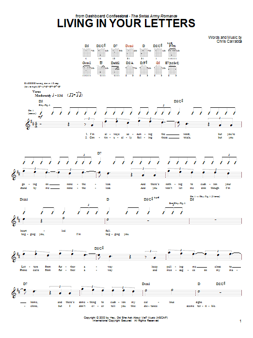 Tablature guitare Living In Your Letters de Dashboard Confessional - Tablature Guitare