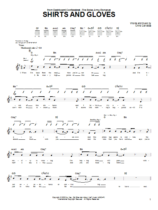 Tablature guitare Shirts And Gloves de Dashboard Confessional - Tablature Guitare