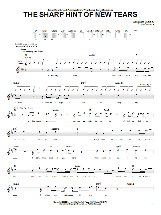 Tablature guitare The Sharp Hint Of New Tears de Dashboard Confessional - Tablature Guitare