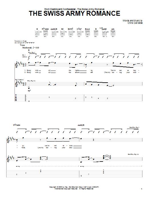 Tablature guitare The Swiss Army Romance de Dashboard Confessional - Tablature Guitare