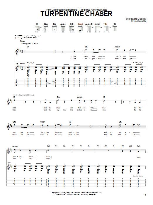Tablature guitare Turpentine Chaser de Dashboard Confessional - Tablature Guitare