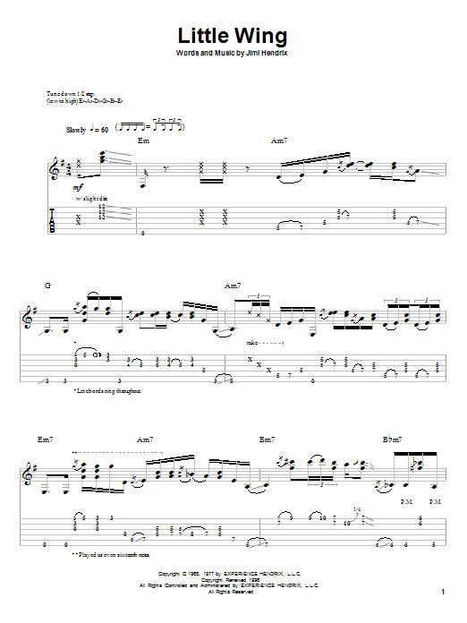 Tablature guitare Little Wing de Stevie Ray Vaughan - Tablature Guitare