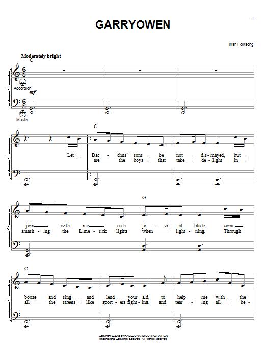 Partition autre Garryowen de Irish Folksong - Accordeon