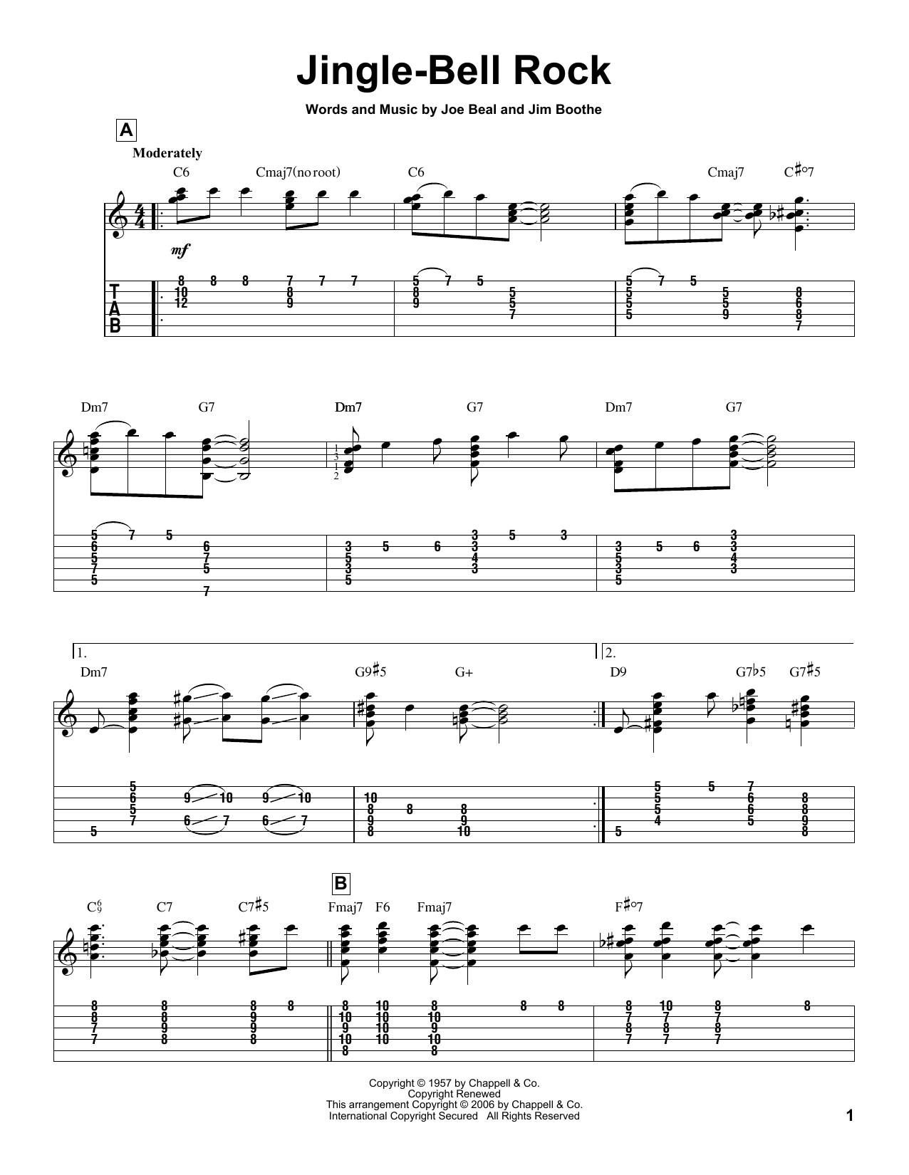 Tablature guitare Jingle-Bell Rock de Bobby Helms - Tablature Guitare