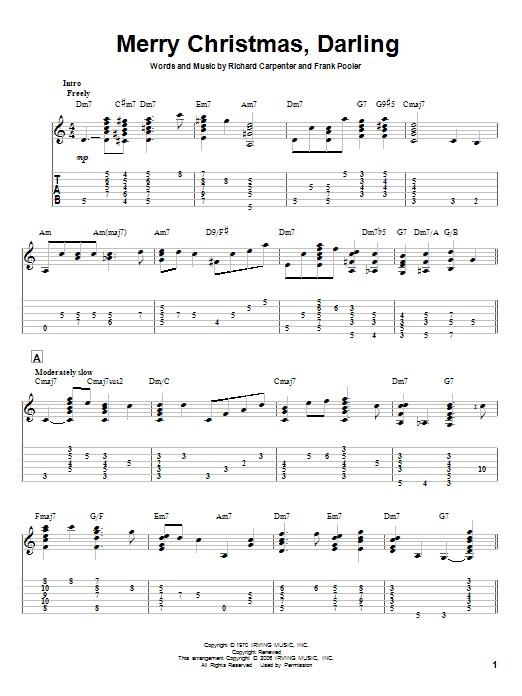 Tablature guitare Merry Christmas, Darling de Carpenters - Tablature Guitare