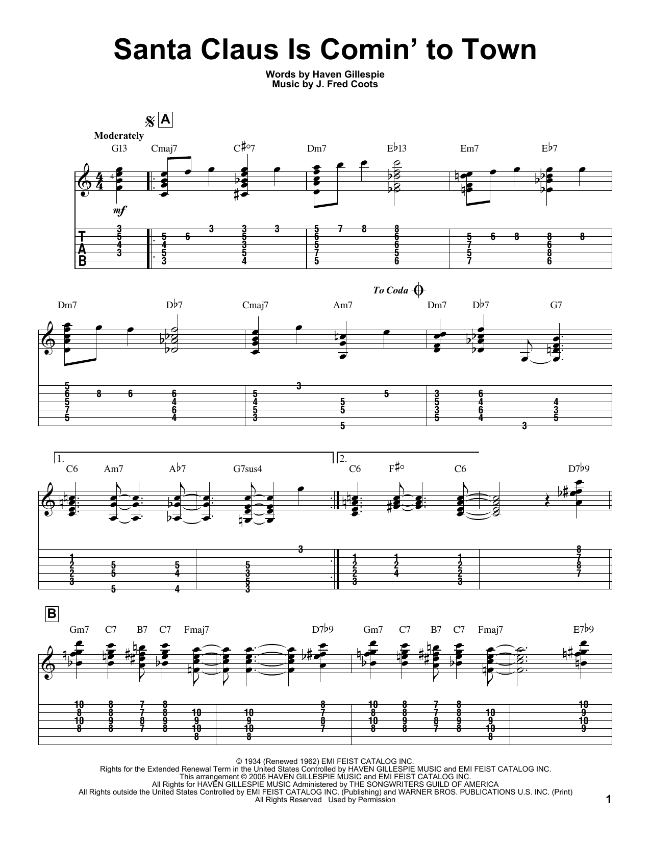 Tablature guitare Santa Claus Is Comin' To Town de J. Fred Coots - Tablature Guitare
