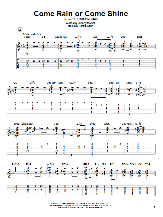 Tablature guitare Come Rain Or Come Shine de Harold Arlen - Tablature Guitare