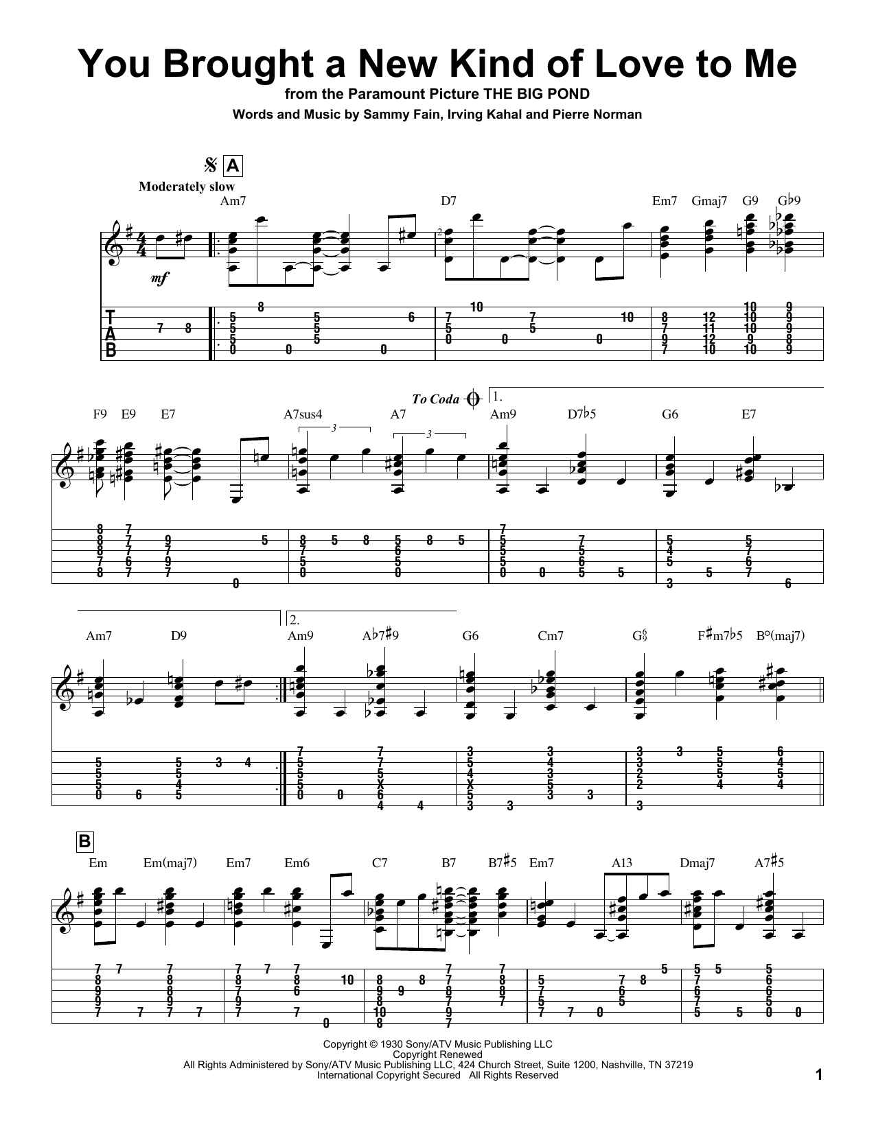 Tablature guitare You Brought A New Kind Of Love To Me de Frank Sinatra - Tablature Guitare