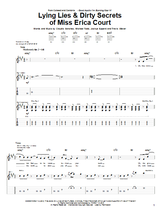 Lying Lies and Dirty Secrets Of Miss Erica Court sheet music for guitar solo (tablature) by Travis Stever