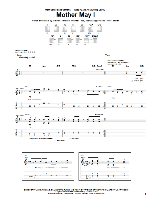 Tablature guitare Mother May I de Coheed And Cambria - Tablature Guitare